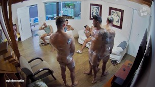 Spy Cam In a huge house of muscular guys